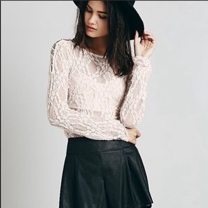Free People intimately sheer pink lace top
